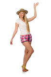 The young woman in pink plaid shorts  on white Stock Photo