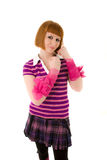 Young woman with pink ribbons on her arms Royalty Free Stock Photos