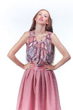 Young Woman In Pink Romantic Dress Stock Images
