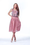Young Woman In Pink Romantic Dress Stock Image