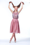 Young Woman In Pink Romantic Dress Stock Photography