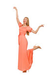 Young woman in pink romantic dress isolated on Royalty Free Stock Photo