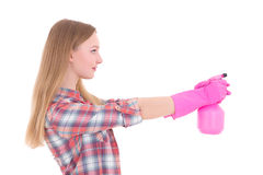 Young woman in pink rubber gloves with spray isolated on white Stock Photos