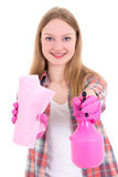 Young woman in pink rubber gloves with spray and rag isolated on Royalty Free Stock Photography