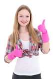 Young woman in pink rubber gloves thumbs up Royalty Free Stock Photography