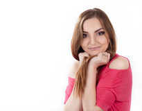 Young woman in pink trendy outfit flirting Royalty Free Stock Photos