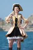 Young woman in pirate costume outdoors Royalty Free Stock Image