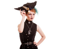 Young woman in pirate costume on white background Royalty Free Stock Images
