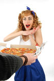 Young woman with pizza Stock Photo