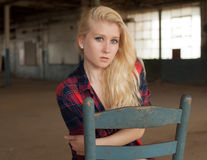 Young Woman in Plaid Shirt Royalty Free Stock Photos