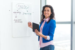 Young woman planning writing day plan on white board, holding marker in right hand.  Stock Photos