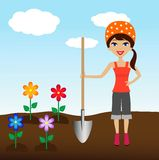 Young woman plant flower in soil Royalty Free Stock Photos