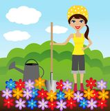 Young woman plant flower in soil Royalty Free Stock Images
