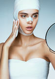 Young woman after plastic surgery Royalty Free Stock Images