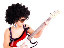 Young woman play guitar over white Stock Photo