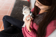 Young Woman play with her kitten Royalty Free Stock Image