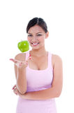Young Woman Playing With Apple Royalty Free Stock Images