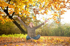 Young woman playing with autumn leaves Stock Image