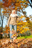 Young woman playing with autumn leaves. Beautiful young blond woman playing with autumn leaves stock photos