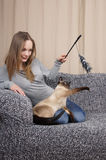 Young woman playing with cat Royalty Free Stock Photography