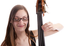 Young woman playing the double bass Stock Photo