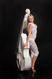 Young Woman Playing On a Double Bass Stock Image