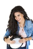 Young woman playing drum Royalty Free Stock Photography