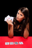 Young woman playing in the gambling Royalty Free Stock Images