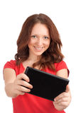 Young woman playing games on tablet Stock Photos