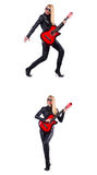 The young woman playing guitar isolated on white Stock Photography