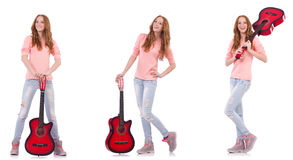 The young woman playing guitar isolated on white Stock Photo