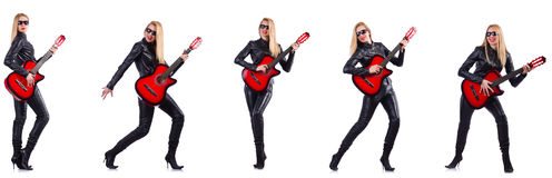 The young woman playing guitar isolated on white Royalty Free Stock Image