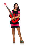 Young woman playing guitar on white Stock Photos