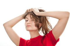 Young woman playing with her ​​hair Stock Photo