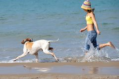 Young woman playing with her dog. On the beach on a summer day Stock Photos