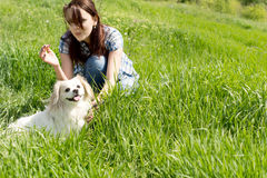 Young woman playing with her dog in grass Stock Photography