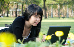 Young woman are playing a laptop. Royalty Free Stock Image