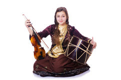 Young woman playing musical instruments. On white Stock Image