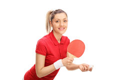 Young woman playing ping pong Royalty Free Stock Photography