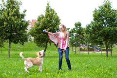Young woman playing  with puppy. Young woman playing in the park with golden retriever puppy Royalty Free Stock Photography