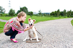 The young woman playing  with puppy outdoor. Sexy woman playing with her golden retriever puppy Royalty Free Stock Image