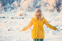 Young Woman playing with snow Outdoor Winter Lifestyle royalty free stock image