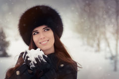 Young Woman Playing with Snow Winter Portrait Royalty Free Stock Photos