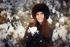 Young Woman Playing with Snow Winter Portrait Stock Photo