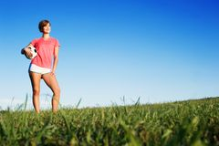 Young Woman Playing Soccer Royalty Free Stock Photo