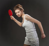 Young woman playing table tennis Royalty Free Stock Image