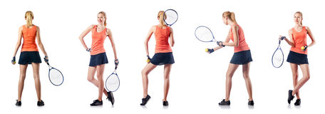 The young woman playing tennis isolated on white Stock Photos