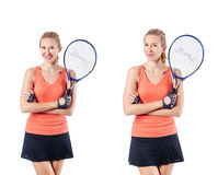The young woman playing tennis isolated on white Stock Photo
