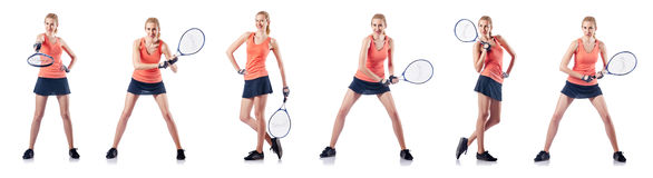 The young woman playing tennis isolated on white Stock Images