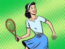 Young woman playing tennis retro style pop art Stock Photo